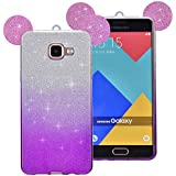 Coque Samsung Galaxy A5 (2016), Sunroyal® Bling Silicone Souple Case de Protection Adorable Oreille Back Cover TPU Housse Etui Shock Absorption Bumper Shell Skin pour Samsung Galaxy A5 SM-A510F (2016 Version) - Violet