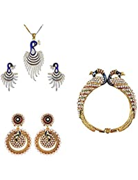 Zeneme Precious Dancing Peacock Gold Plated Combo Of Kada Pendant Earring Jewellery For Women And Girls