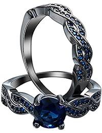 Smile YKK Mujer Acero Inoxidable Zircon Boda Banda Par anillas, color azul