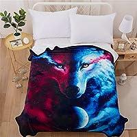 WONGS BEDDING Manta de Franela Mediano Tamaño Manta de Lana Estampata 3D Wolf Animal Manta de Lana Azul Marino para sofá y Cama de 150 * 200 cm