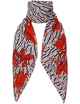 Armani Jeans Wollschal Damen Schal Halstuch Wolle bicolor logo foulard beige
