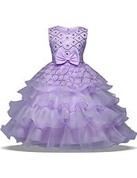 OBEEII Vestido Elegante de Niña Vestidos Midi Multicapa Ropa Verano Disfraz de princesa para Boda Madrina Fiesta Ceremonia Comunión…