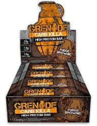 Grenade Carb Killa Fudge Brownie High Protein and Low Carb Bar, 12 x 60 g