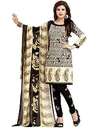 A K Designer Women's Chiffon Dress Material (Mehak10002_Free Size_Black)