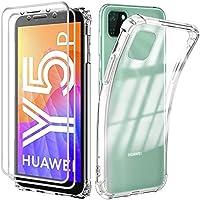 Reshias Funda para Huawei Y5p con [2 Pack] Cristal Templado Protector de Pantalla, Suave TPU Transparente Gel Silicona Anti-caída Protectora Carcasa para Huawei Y5p 2020 (5.45 Pulgadas)