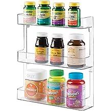mDesign Estantería de pared para organizar medicamentos – Repisa con 3 estantes en plástico estable –