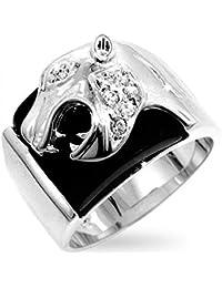Eleganter Panther Herren Ring mit Zirkonia Diamanten und schwarzer Emaille, 14 Karat Weißgold Vermeil