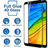 Systek Redmi Note 5 4D Tempered Glass,[Full Glue] Full Screen Protector Edge To Edge Tempered Glass For Mi Note 5 [No Rainbow] [No Dot Matrix] [Full Glue 4D Screen Guard] (Black)