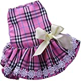 MagiDeal Puppy Pet Dog Cat Floral Flower Dress Skirt Bowknot Princess Clothes Female Costume Apparel M - violet tartan dress, M