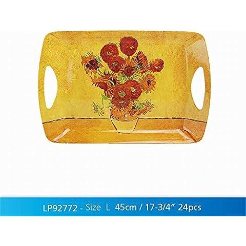Girasoli di Van Gogh design 48cm grande vassoio in melamina con manici