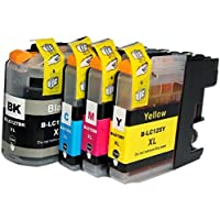 Set of 4 High Quality Compatible Ink Cartridges for Brother LC-125 LC-127 BK/C/M/Y. MultiPack of 4 Ink Cartridges (LC-127XL BK + LC-125XL C/M/Y) for BROTHER MFC-J4110 DW / J4410 DW / J4510 DW / J4610 DW / J4710 DW, LC125 LC127