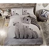 Diseño de la bandera británica de oso Polar funda nórdica para cama doble