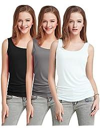 d0a1811b Fashion Line Cotton Lycra Tank Top for Girls/Women (Black, Grey & White
