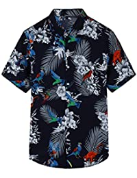 Pinkpum Mens Hawaiian Shirt Short Sleeve Summer Holiday Fancy Hawaii Dress Floral Beach Palm Tree XS-4XL