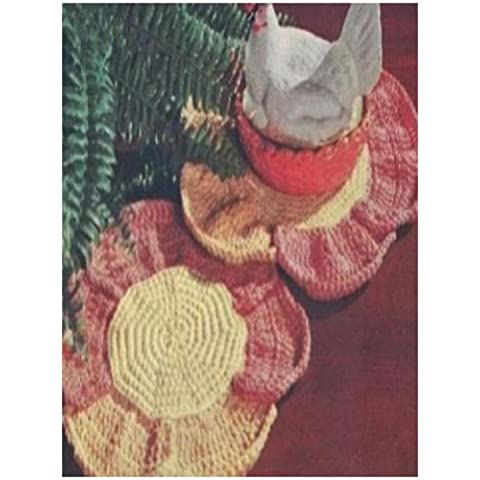 #0852 FLOWER HOT PLATE MAT VINTAGE CROCHET PATTERN (English Edition)
