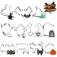 O-Kinee Cortapastas para Galletas Halloween, 11 Piezas Moldes de Galletas para Pastel Cookie Fondant Formas, Halloween Decoración Fiesta -Acero Inoxidable