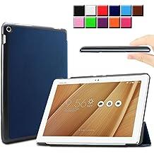 Infiland ASUS ZenPad 10 LTE Z300C Funda Case-Ultra Delgada Tri-Fold Smart Case Cover PU Cuero Smart Cascara con Soporte para ASUS ZenPad 10 (Z300C) (10,1 pulgadas) SM-T530 SM-T535 Tablet-PC (con Auto Reposo / Activación Función)(Azul Oscuro)
