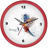 [Sponsored]Story@home 10-inchRound Shape Wall Clock With Glass For Home / Kitchen / Living Room / Bedroom (Red Frame)