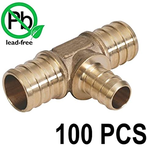 3/4 x 3/4 x 1/2 PEX Barbed Tee - Brass Crimp Fitting Bag of 100 PCS / Brass / .75 x .75 x .5