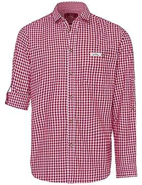 Edelheiss Moser Trachten Trachtenhemd Langarm Rot Karo Robby 005115, Material Baumwolle, Liegekragen