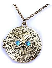 Bold N Elegant Retro Owl Eye Statement Bib Choker Statement Big Size Openable photo momento locket Round Opening Locket Sweater Chain
