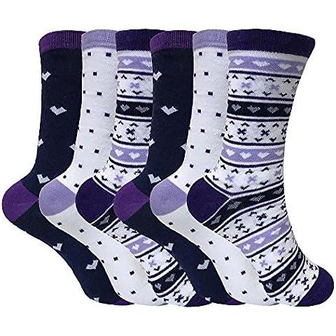 Tom Franks - Mujer 6 pares de algodon divertidos rayas media estampados vestir calcetines en 10 estilos