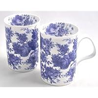 Fine Bone China Mugs - Set of Two - Blue
