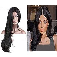 Eseewigs - Peluca de pelo largo y liso con aspecto natural, resistente al calor,