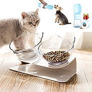 وعاء طعام للقطط مائل 15 درجة، مزدوج مع حامل للمنزل، للقطط الصغيرة والحيوانات الاليفة الاخرى
