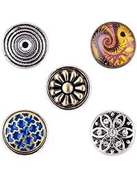 Morella señorías small Click-Button Set 5 pcs botones 12 mm diámetro con adornos fredoo Paisley patrones y flor