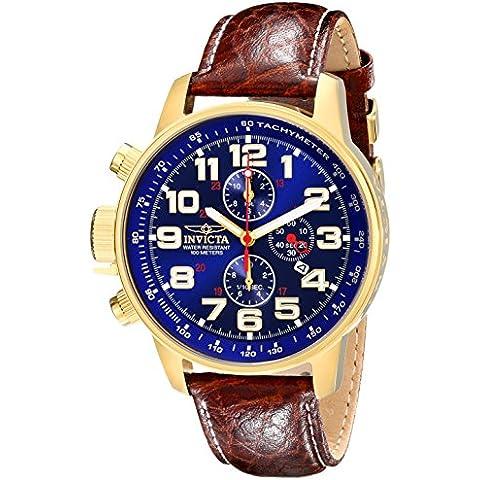 INVICTA  3329 - Reloj de cuarzo para hombre, con correa de cuero, color marrón