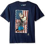 Liquid Blue Men's Popeye 100% All American Flag Short Sleeve T-Shirt