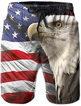 Funny Caps Bald Eagle Men's/Boys Casual Swim Trunks Short Elastic Waist Beach Pants with Pockets