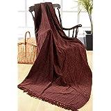 Elite Home Collection - Colcha para sofá o cama de matrimonio (225 x 250cm, 100% poliéster indio), color marrón