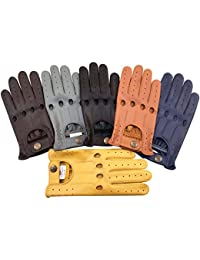 PRIME LEATHER TOP QUALITY REAL SOFT LEATHER MENS WITHOUT LINING DRIVING GLOVES RETRO GLOVE IN TEN BEAUTIFUL COLOURS (BLACK, MEDIUM)