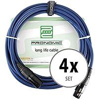 4er Set Pronomic Stage DMX3-5 DMX-Kabel 5 Meter (zur Verkabelung von Lichteffekten, Goldkontakte, Mantelfarbe: Blau, XLR Male zu XLR Female)