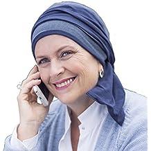 Elegante pañuelo Helene reversible en azul tejano y marrón sin costuras visibles.