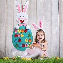 Aerwer Puzzle Número para niños pequeños Juguetes de aprendizaje preescolar con huevos de Pascua desmontables Felt