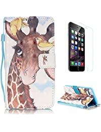 iPhone 7 Case [with Free Screen Protector],CaseHome Stylish 3D Pattern Folio Book Style Magnetic Closure Stand Feature Wallet Design with Card Holder Slots and Wrist Strap Built-in Soft Rubber Bumper Full Body Protective PU Leather Flip Case Cover Skin Shell for Apple iPhone 7 4.7 Inch-Giraffe and Birds