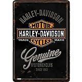 Nostalgic Art - Postal metálica, 10 x 14 cm, diseño con el logo de Harley Davidson, color negro, gris, blanco y naranja