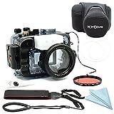 Sony A6500için A6300A6000[Ilce-6500/6300/6000] 195ft/60m su altı kamera dalma su geçirmez gövde (gövde + Cover + kırmızı filtre,)