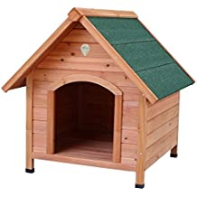 Caseta para perros Nobleza, estructura de madera con tejado verde a dos aguas, alto
