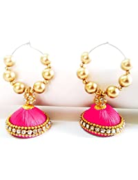 Pink And Gold Handmade Silk Threaded Bali Jhumka