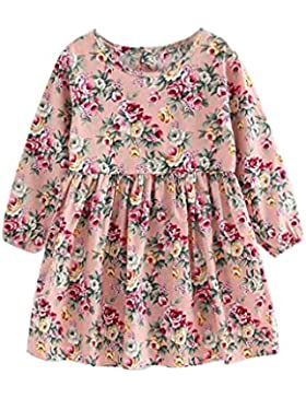 Lenfesh Baby Mädchen Blumendruck Prinzessin Kleid, Infant Kinder Herbst Bowknot Partykleid