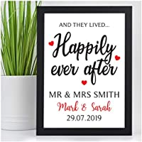 PERSONALISED Happily Ever After Wedding Gifts for the Bride and Groom - Custom Wedding Day Keepsake Presents for New Husband, Wife, Couples - Wedding Day Memories Print Gifts for Her, Him, Couples