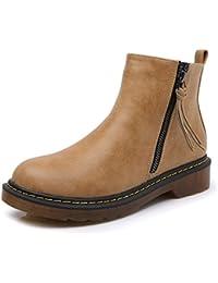 Smilun Bottes Basses Chaussures Femme Zip Frange Talon Western