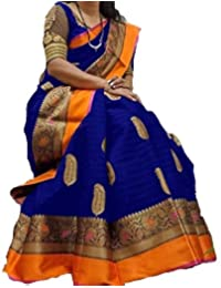 KBF Women Cotton Silk Saree With Blouse Piece (Navy Blue_Free Size)