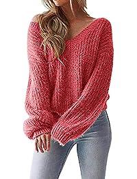 JackenLOVE Otoño Invierno Suelto Suéter Mujeres Moda Backless Sweater Prendas de Punto Jerseys Tops Blusa Cuello