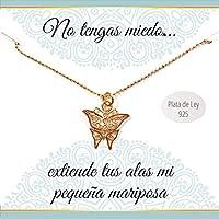 Colgante mariposa Plata de Ley chapado en Oro rosa | Collar con mensaje | Regalos especiales | Colgante amuleto | Envío gratis