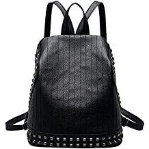 """Mochila de piel sintética Cool Rivet, para mujer, para ir a la escuela o de viaje como bolso de mano, negro, 25cm x 16cm x 28cm/9.84"""" x 6.30"""" x 11.02"""""""